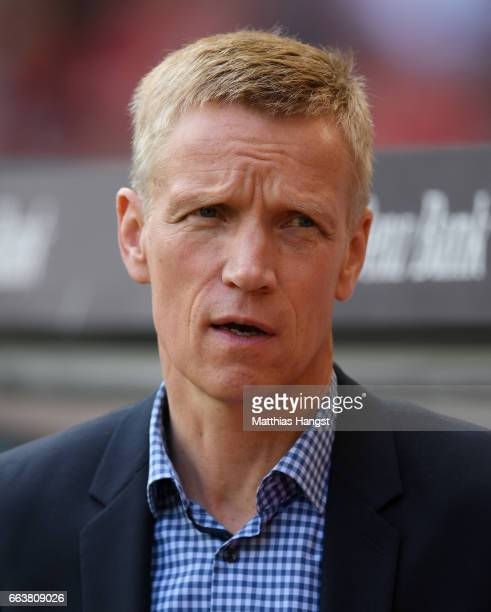 Jan Schindelmeiser sporting director of VfB Stuttgart seen prior to the Second Bundesliga match between VfB Stuttgart and Dynamo Dresden at...