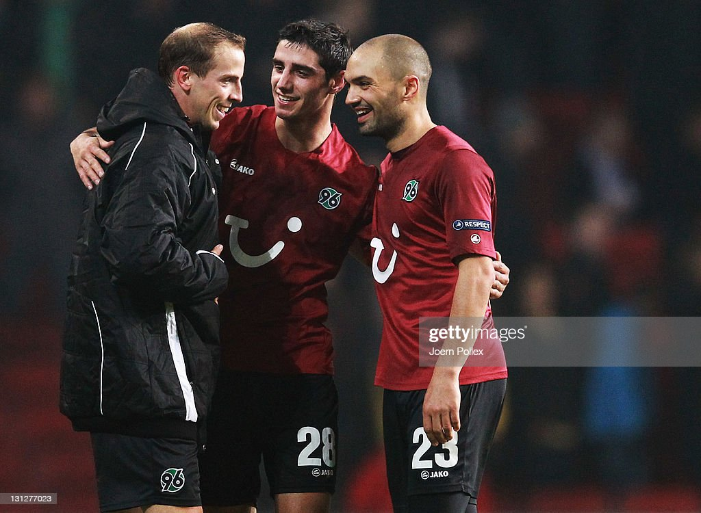 Jan Schlaudraff Lars Stindl and Sofian Chahed of Hannover celebrate after the UEFA Europa League Group B match between FC Kobenhavn and Hannover 96...