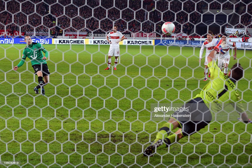 <a gi-track='captionPersonalityLinkClicked' href=/galleries/search?phrase=Jan+Schlaudraff&family=editorial&specificpeople=673697 ng-click='$event.stopPropagation()'>Jan Schlaudraff</a> of Hannover scores the 2nd team goal witha penalty kick against <a gi-track='captionPersonalityLinkClicked' href=/galleries/search?phrase=Sven+Ulreich&family=editorial&specificpeople=4877030 ng-click='$event.stopPropagation()'>Sven Ulreich</a>, keeper of Stuttgart during the Bundesliga match between VfB Stuttgart and Hannover 96 at Mercedes-Benz Arena on November 11, 2012 in Stuttgart, Germany.