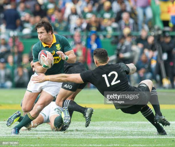 Jan Serfontein of South Africa and Sonny Bill Williams during the Rugby Championship 2017 match between South Africa and New Zealand at DHL Newlands...