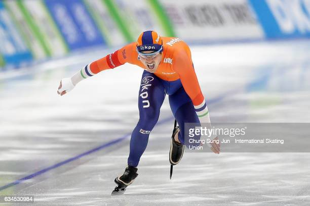 Jan Smeekens of Netherlands competes in the Men 500m during the ISU World Single Distances Speed Skating Championships Gangneung Test Event For...