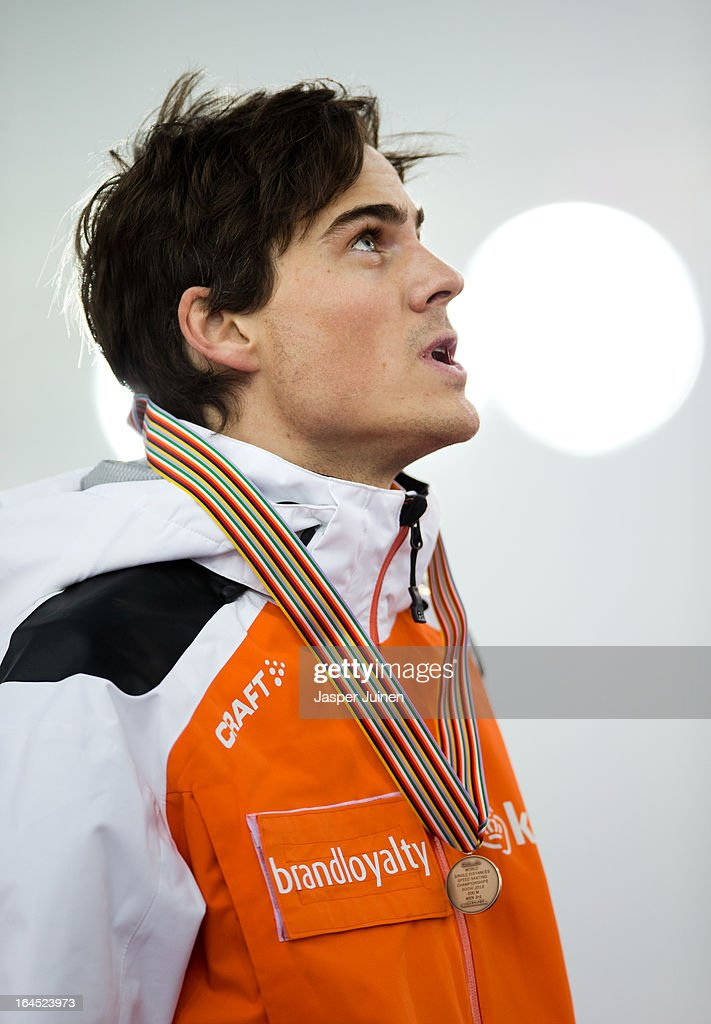 Jan Smeekens of the Netherlands reacts on the podium with his bronze medal at the end of the Korean national anthem after his dissapointing 500m race on day four of the Essent ISU World Single Distances Speed Skating Championships at the Adler Arena Skating Center on March 24, 2013 in Sochi, Russia.