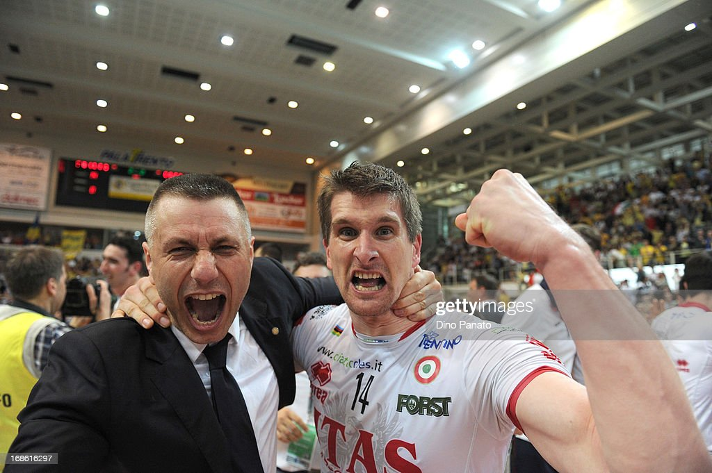 Jan Stokr and Radostin Stoytchev head coach of Itas Diatec Trentino Trentino celebrate victory after game 5 of Playoffs Finals between Itas Diatec Trentino and Copra Elior Piacenza at PalaTrento on May 12, 2013 in Trento, Italy.