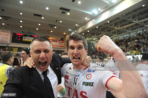 Jan Stokr and Radostin Stoytchev head coach of Itas Diatec Trentino Trentino celebrate victory after game 5 of Playoffs Finals between Itas Diatec...