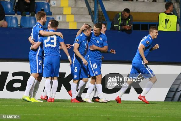 Jan Sykora and Zdenek Folprecht of Liberec celebrates after scoring the opening goal during the UEFA Europa League firstleg football match between AC...