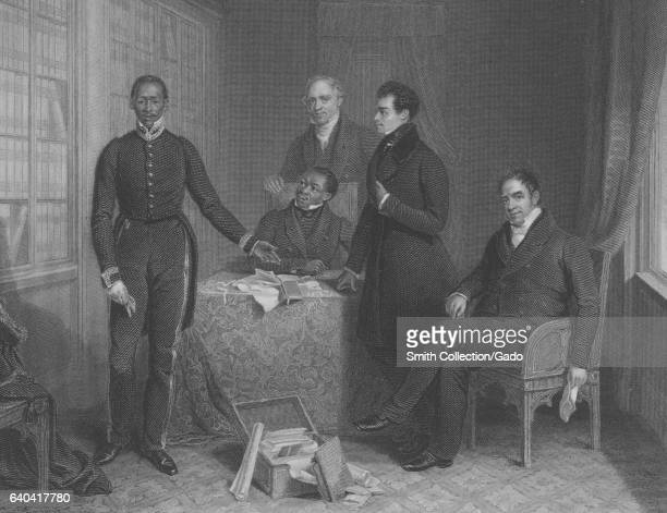 Jan Tzatzoe a South African Royal family member Andries Stoffels Doctor Phillip and Reverend Read give evidence before the committee of the House of...