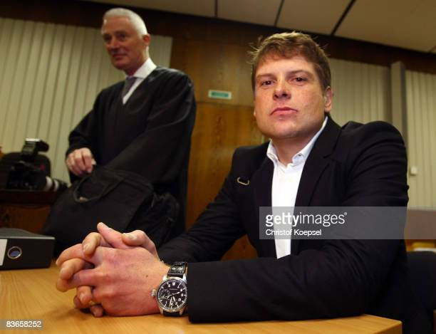 Jan Ullrich and his lawyer Ulrich Theune are seen during the hearing at the higher regional court Duesseldorf on November 12 2008 in Duesseldorf...