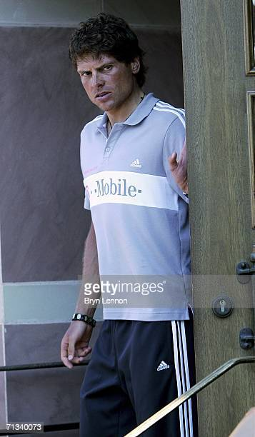 Jan Ullrich of Germany and TMobile Team emerges from his hotel to talk to the media after he was suspended by his TMobile Team prior to the Tour de...