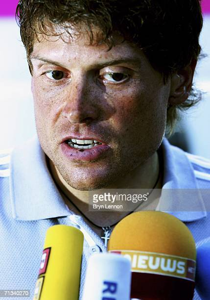 Jan Ullrich of Germany and TMobile Team talks to the media after he was suspended by TMobile prior to the Tour de France on June 30 2006 in...
