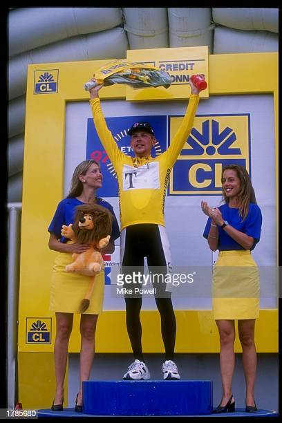 Jan Ullrich of Germany celebrates during time trials of Stage 20 of the Tour de France in France July 26 1997 Mandatory Credit Mike Powell /Allsport