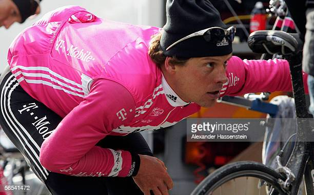 Jan Ullrich of Germany checks his saddle during the training camp of TMobile Team on January 8 2006 in Mallorca Spain