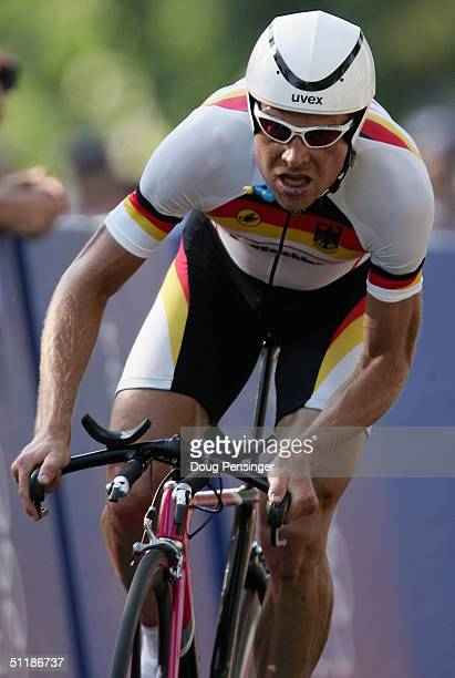 Jan Ullrich of Germany competes in the men's road cycling individual time trial on August 18 2004 during the Athens 2004 Summer Olympic Games at the...