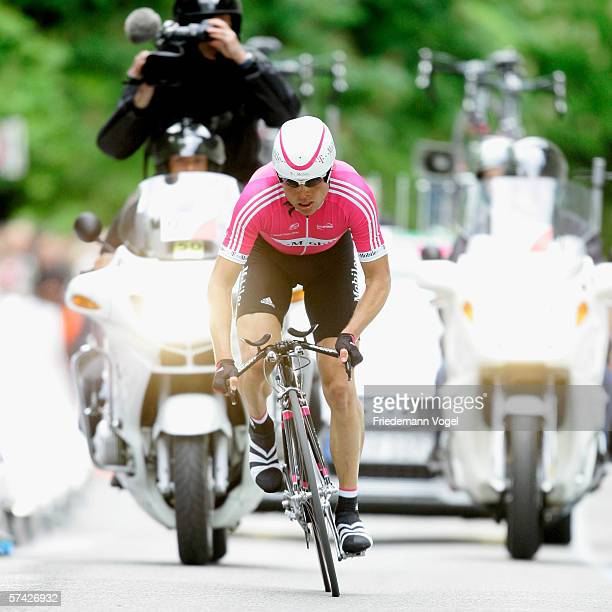 Jan Ullrich of Germany from the TMobile Team in action during the first stage time trial of the 2006 edition of the Tour de Romandie on April 25 2006...