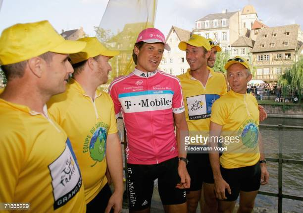 Jan Ullrich of Germany from the TMobile Team stands with guests during the team presentation of the Tour de France 2006 on June 29 2006 in Strasbourg...