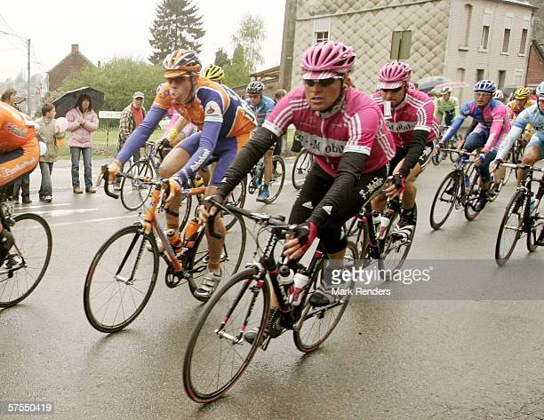 Jan Ulrich and cyclists are seen during the second stage of the 2006 edition of the Giro dItalia on May 7 2006 from Mons to Charleroi Belgium