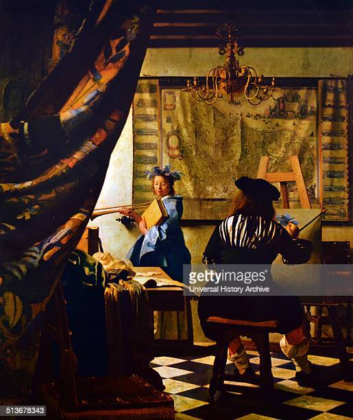 Jan Vermeer 'The Painter's Studio and detail of the candelabra' c1665 Oil on canvas
