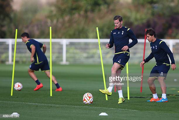 Jan Vertonghen and Benjamin Stambouli of Tottenham Hotspur in action during a Tottenham Hotspur training session on October 1 2014 in London United...