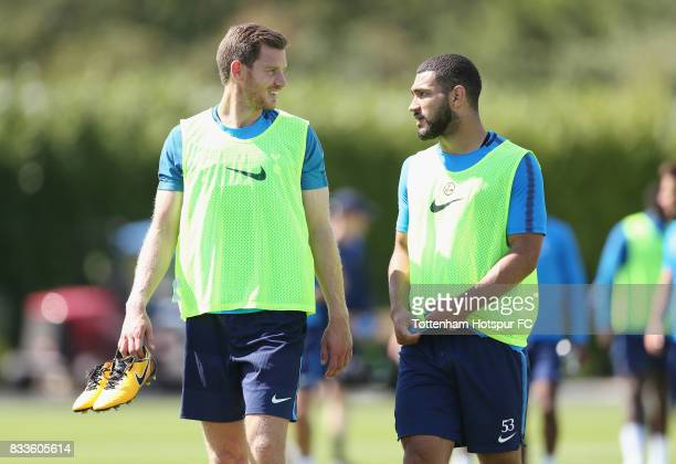 Jan Vertonghen and Cameron CarterVickers of Tottenham during the Tottenham Hotspur training session at Tottenham Hotspur Training Centre on August 17...