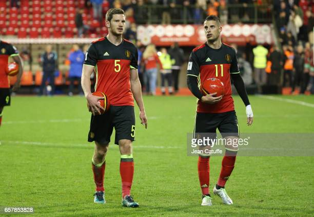 Jan Vertonghen and Kevin Mirallas of Belgium thank the supporters following the FIFA 2018 World Cup Qualifier between Belgium and Greece at Stade Roi...