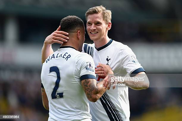 Jan Vertonghen and Kyle Walker of Tottenham Hotspur celebrate their team's 41 win in the Barclays Premier League match between Tottenham Hotspur and...