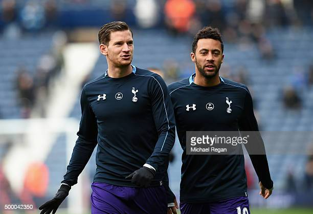 Jan Vertonghen and Mousa Dembele of Tottenham Hotspur warm up prior to the Barclays Premier League match between West Bromwich Albion and Tottenham...