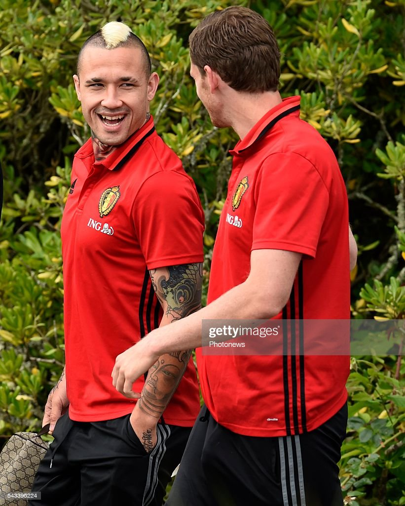 Jan Vertonghen defender of Belgium and Radja Nainggolan midfielder of Belgium during a training session of the National Soccer Team of Belgium as part of the preparation prior to the UEFA EURO 2016 quarter final match between Wales and Belgium at the Chateau de Haillan training center on June 28, 2016 in Bordeaux, France ,