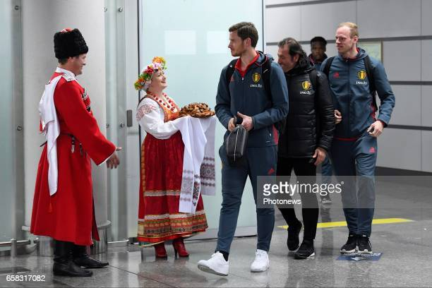 Jan Vertonghen defender of Belgium Matz Sels goalkeeper of Belgium arrival at the airport before the International Friendly Match prior to the FIFA...