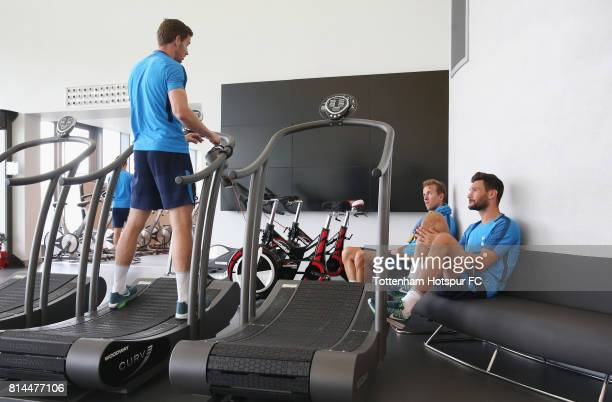 Jan Vertonghen Harry Kane and Hugo Lloris of Tottenham during the Tottenham Hotspur training session at Tottenham Hotspur Training Centre on July 14...