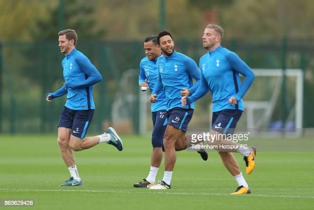 Jan Vertonghen Michel Vorm Mousa Dembele and Toby Alderweireld of Tottenham during the Tottenham Hotspur training session at Tottenham Hotspur...