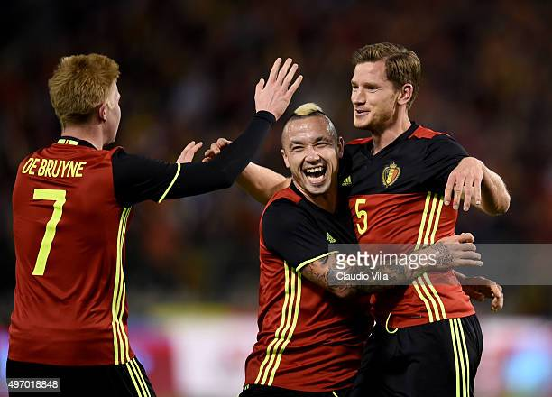 Jan Vertonghen of Belgium celebrates after scoring the first goal during the intermational friendly match between Belgium and Italy at King Baudouin...