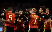 Jan Vertonghen of Belgium celebrates after scoring the first goal during the international friendly match between Belgium and Italy at King Baudouin...