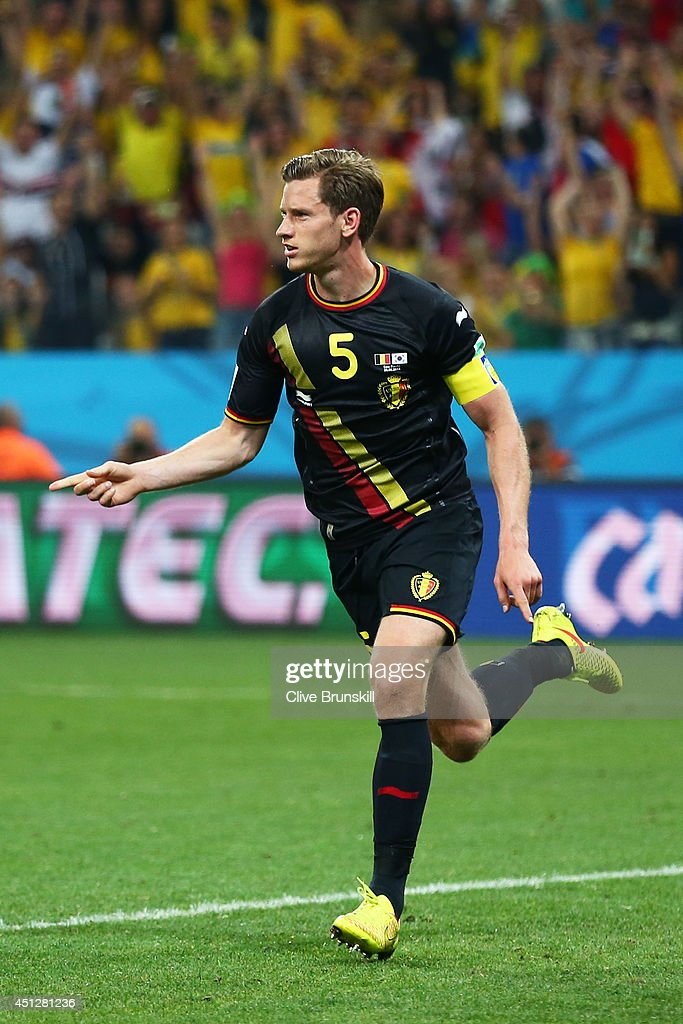 <a gi-track='captionPersonalityLinkClicked' href=/galleries/search?phrase=Jan+Vertonghen&family=editorial&specificpeople=1360499 ng-click='$event.stopPropagation()'>Jan Vertonghen</a> of Belgium celebrates scoring his team's first goal during the 2014 FIFA World Cup Brazil Group H match between South Korea and Belgium at Arena de Sao Paulo on June 26, 2014 in Sao Paulo, Brazil.