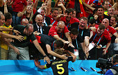 Jan Vertonghen of Belgium celebrates scoring his team's first goal during the 2014 FIFA World Cup Brazil Group H match between South Korea and...