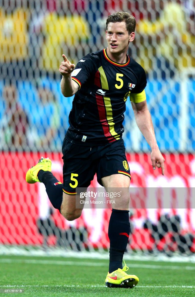 <a gi-track='captionPersonalityLinkClicked' href=/galleries/search?phrase=Jan+Vertonghen&family=editorial&specificpeople=1360499 ng-click='$event.stopPropagation()'>Jan Vertonghen</a> of Belgium celebrates scoring his team's first goal during the 2014 FIFA World Cup Brazil Group H match between Korea Republic and Belgium at Arena de Sao Paulo on June 26, 2014 in Sao Paulo, Brazil.