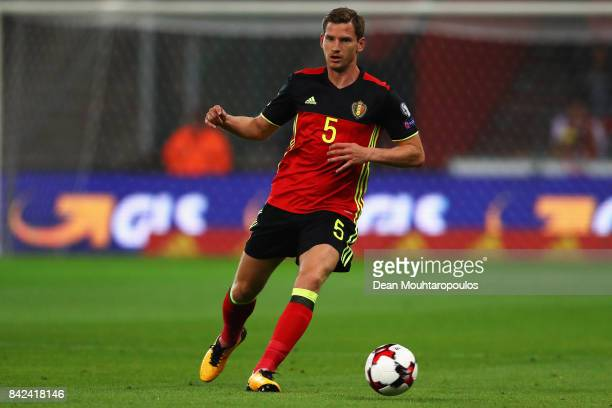 Jan Vertonghen of Belgium in action during the FIFA 2018 World Cup Qualifier between Belgium and Gibraltar at Stade Maurice Dufrasne on August 31...
