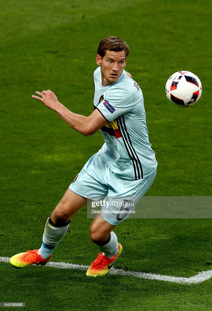 <a gi-track='captionPersonalityLinkClicked' href=/galleries/search?phrase=Jan+Vertonghen&family=editorial&specificpeople=1360499 ng-click='$event.stopPropagation()'>Jan Vertonghen</a> of Belgium in action during the UEFA EURO 2016 round of 16 match between Hungary and Belgium at Stadium Municipal on June 26, 2016 in Toulouse, France.
