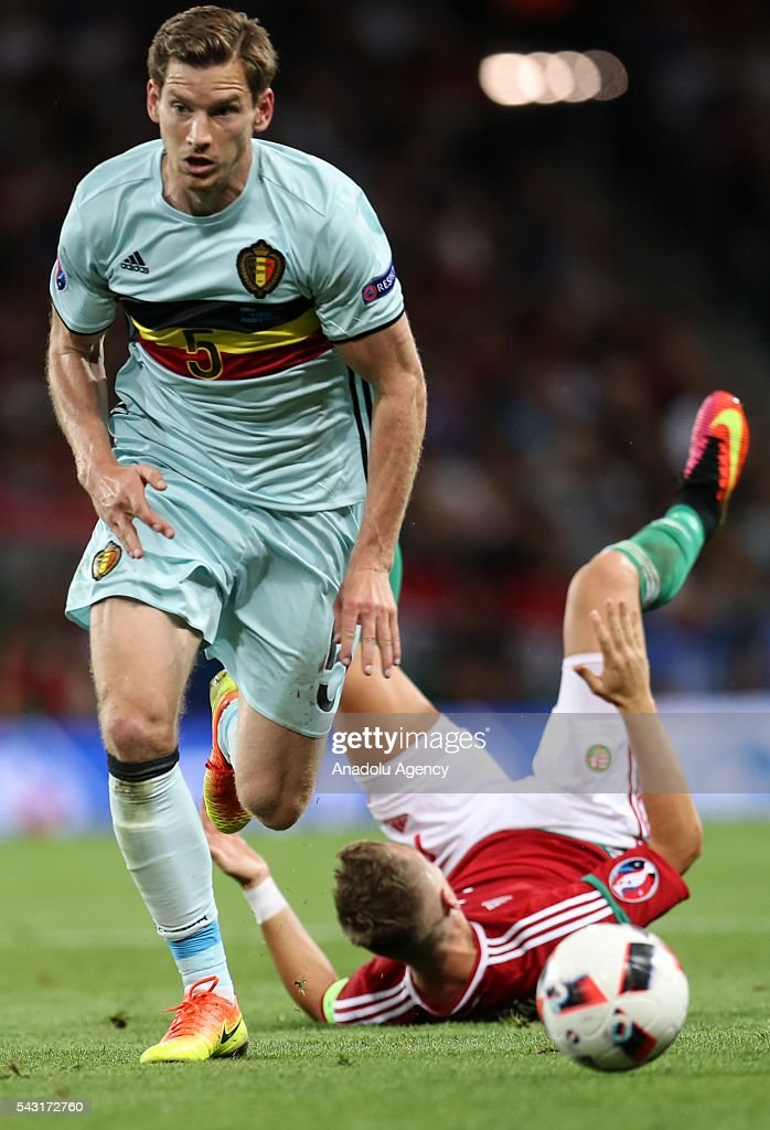 Jan Vertonghen (5) of Belgium in action during the UEFA Euro 2016 round of 16 football match between Hungary and Belgium at Stadium Municipal in Toulouse, France on June 26, 2016.