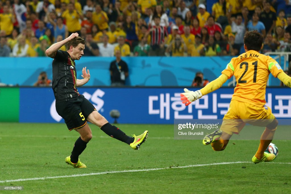 <a gi-track='captionPersonalityLinkClicked' href=/galleries/search?phrase=Jan+Vertonghen&family=editorial&specificpeople=1360499 ng-click='$event.stopPropagation()'>Jan Vertonghen</a> of Belgium scores his team's first goal during the 2014 FIFA World Cup Brazil Group H match between South Korea and Belgium at Arena de Sao Paulo on June 26, 2014 in Sao Paulo, Brazil.