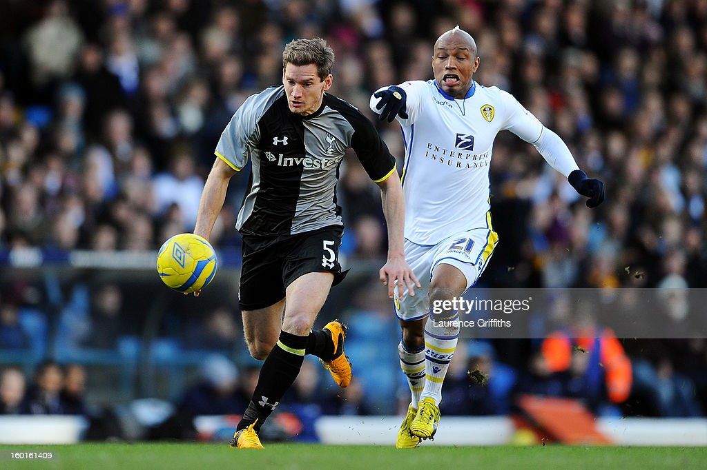 Jan Vertonghen of Spurs is challenged by El-Hadji Diouf of Leeds during the FA Cup with Budweiser Fourth Round match between Leeds United and Tottenham Hotspur at Elland Road on January 27, 2013 in Leeds, England.