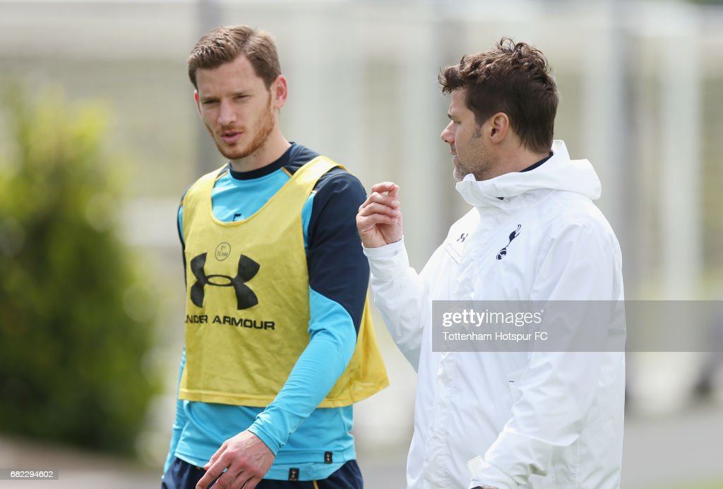 Jan Vertonghen of Tottenham and manager Mauricio Pochettino during the Tottenham Hotspur training session at Tottenham Hotspur Training Centre on May 12, 2017 in Enfield, England.