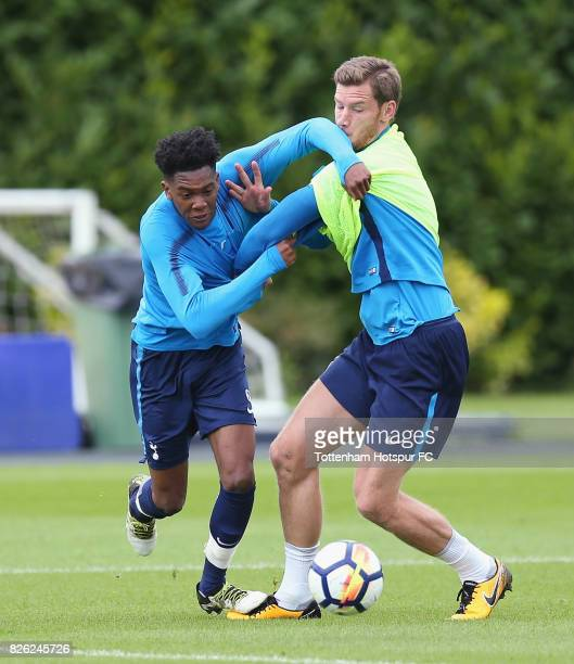 Jan Vertonghen of Tottenham during the Tottenham Hotspur training session at Tottenham Hotspur Training Centre on August 2 2017 in Enfield England
