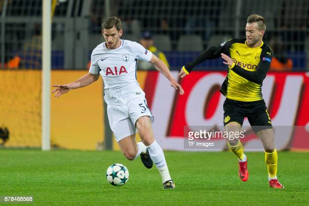Jan Vertonghen of Tottenham Hotspur and Andrey Yarmolenko of Borussia Dortmund battle for the ball during the UEFA Champions League group H match...