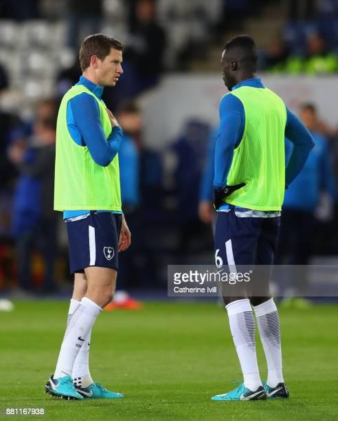 Jan Vertonghen of Tottenham Hotspur and Davinson Sanchez of Tottenham Hotspurwarm up during the Premier League match between Leicester City and...