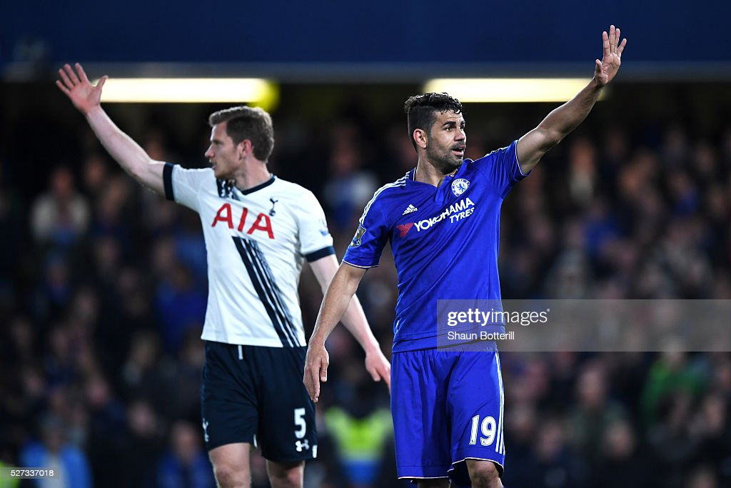 Jan Vertonghen of Tottenham Hotspur and Diego Costa of Chelsea gesture during the Barclays Premier League match between Chelsea and Tottenham Hotspur at Stamford Bridge on May 02, 2016 in London, England.jd