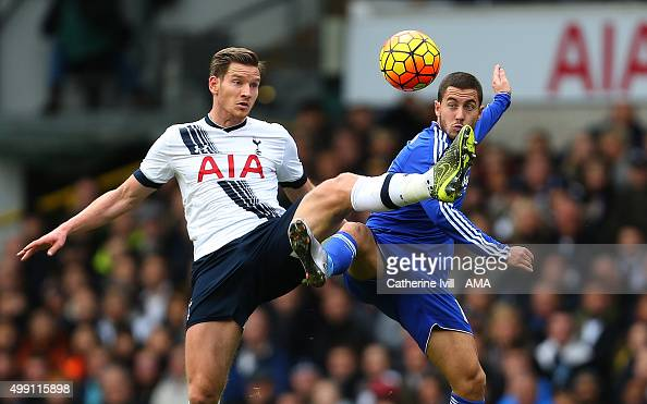Jan Vertonghen of Tottenham Hotspur and Eden Hazard of Chelsea during the Barclays Premier League match between Tottenham Hotspur and Chelsea at...