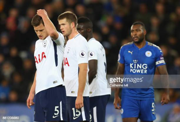 Jan Vertonghen of Tottenham Hotspur and Eric Dier look dejected during the Premier League match between Leicester City and Tottenham Hotspur at The...