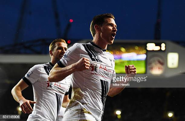 Jan Vertonghen of Tottenham Hotspur celebrates as Craig Dawson of West Bromwich Albion scores an own goal for their first goal during the Barclays...
