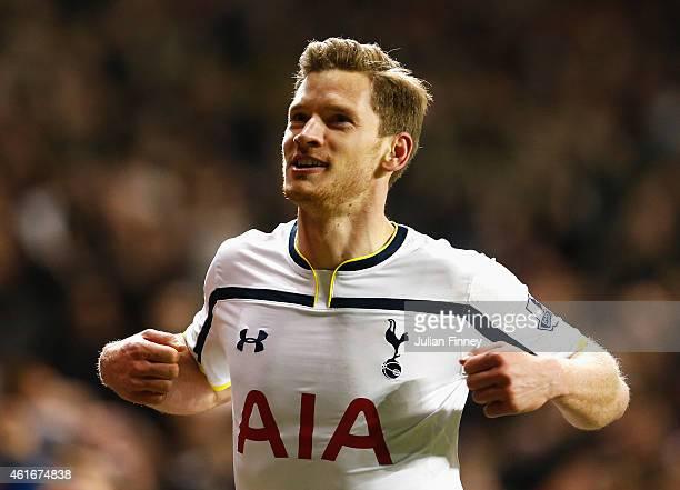 Jan Vertonghen of Tottenham Hotspur celebrates victory after the Barclays Premier League match between Tottenham Hotspur and Sunderland at White Hart...