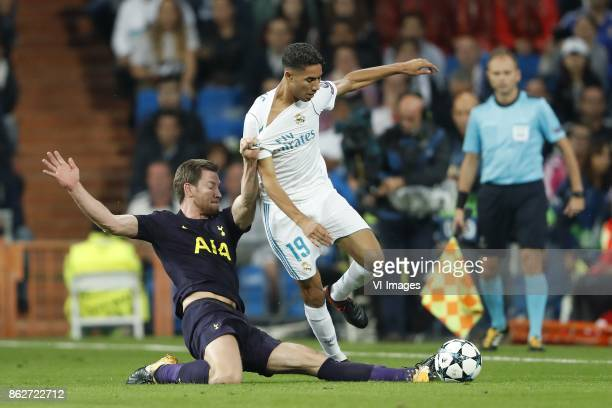 Jan Vertonghen of Tottenham Hotspur FC Achraf Hakimi of Real Madrid during the UEFA Champions League group H match between Real Madrid and Tottenham...