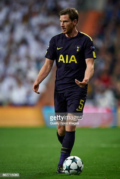 Jan Vertonghen of Tottenham Hotspur in action during the UEFA Champions League group H match between Real Madrid and Tottenham Hotspur at Estadio...
